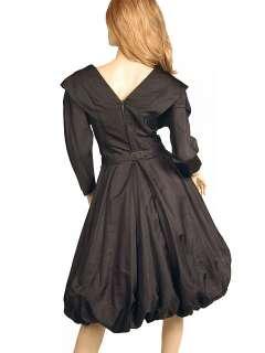 Dress  Bubble Gown Black Silk Satin Seymour Jacobson 1940s