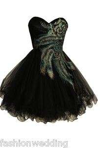 Short Party gown formal dress Black peacock Style Tulle exsmall to 2xl