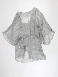 Alice + Olivia womens grey multi alabama drawstring wrap blouse M $297