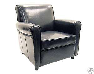 Contemporary Modern Full Leather Club Chair   Black