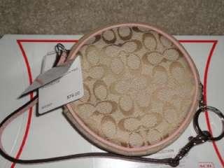 Coach Signature Khaki Brown Pink Pig/Piglet Round Coin Purse Wristlet