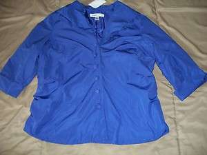 Coldwater Creek Petite Small PS purple ruched front blouse shirt NWT $
