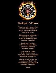 Firefighter Prayer Poem Wall or Room Print Fireman