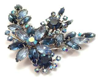Vintage Large Brooch Pin Sapphire Blue Navette Rhinestone Floral