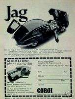 1968 Corgi Diecast Jaguar~Mustang Toy Car Vintage AD