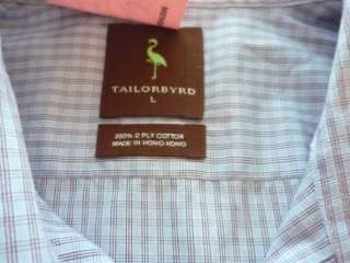 Tailorbyrd 100% cotton long sleeve button front shirt size Large