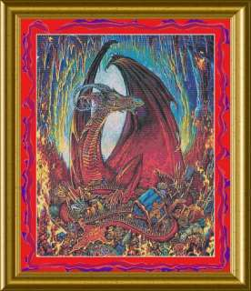 THE TREASURE KEEPER DRAGON COUNTED CROSS STITCH PATTERN