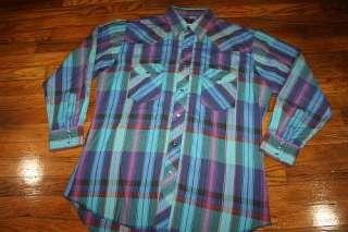 vtg 80s plaid WESTERN pearl snap shirt * COWBOY