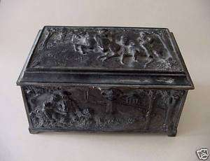 ELABORATE VICTORIAN SCENES on HEAVY SILVER PLATED REPOUSSE JEWELRY BOX