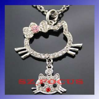 Cute HelloKitty Crystal Jewelry Diamante Necklace Pendant Gift 212