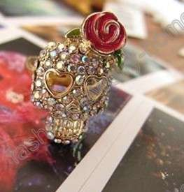 fashion multicolour crystal rose flower skull rings