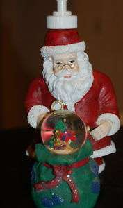 SANTA CLAUS Christmas Liquid Soap Dispensor SNOW GLOBE