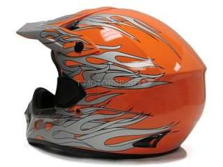 ORANGE DIRT BIKE ATV MOTOCROSS HELMET OFF ROAD MX PRO~M