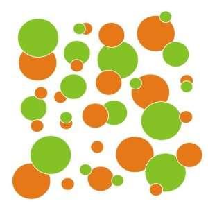 com set of 106 Orange and Lime Green polka dots Vinyl wall lettering