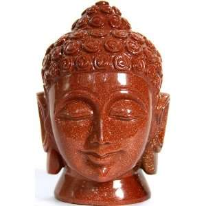 Sarnath Buddha Head in Sunstone   Sunstone Sculpture