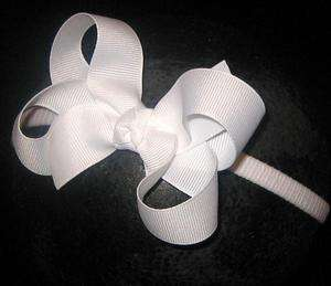 Baby Infant Newborn Dainty Hair Bows White Bow Headband