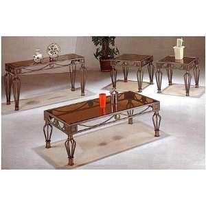3pc Neo Classic Coffee & 2 End Tables Set w/Smoke Glass