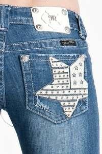 Womens True Blue Star Boot Cut Rhinestone Jeans 30 x 33 JP6042B