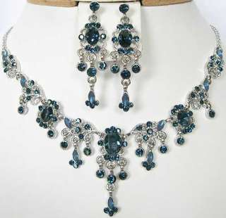 n305 Montana Dark Blue Swarovski Crystal Victorian Style Necklace