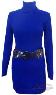NEW WOMENS LADIES KNITTED POLO NECK BELTED BODYCON DRESS TOP SIZE 8 10