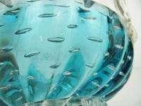 Rossini Italy Blue Clear Empoli Glass Basket Bowl Eames