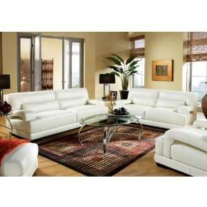 Cindy Crawford Home Bellamy Off White Leather 3 Pc