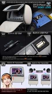 2x 9 DIGITAL SCREEN Car Headrest DVD Player GREY L0235