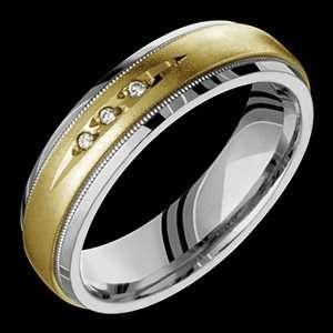 Diapora   size 11.50 Titanium Ring with 14K Yellow Gold Design & Three