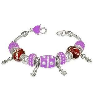 Fashion Violet Purple Beaded Crystal Flower Charm Heart Padlock Womens