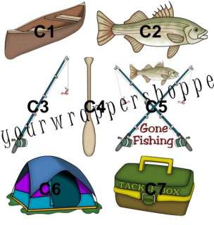 20 CAMPING FISHING Party Favors Loot Bags & Toppers