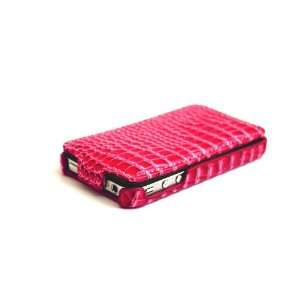 HOT PINK CROCODILE HARD LEATHER CASE COVER Compatible With