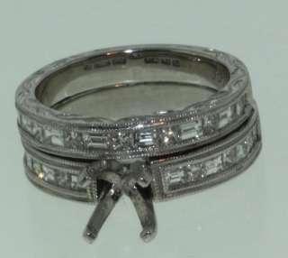 18k white gold diamond semi mount band ring set vintage