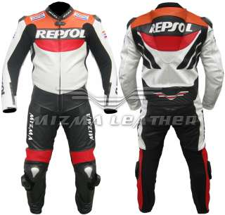 Repsol Mens One Piece Motorbike Motorcycle Racing Leathers Suit, mens