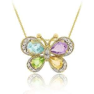 Glitzy Rocks 18k Gold over Silver Multi gemstone Diamond