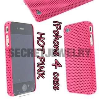 Perforated Hard Snap Case Cover Casing for iPhone 4   Hot Pink