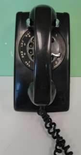 BLACK KELLOGG 554 TELEPHONE PHONE VINTAGE ROTARY WALL 1966 RETRO ITT