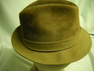 Resistol Beige Suede Fedora Mens Hat   Nice Condition   Rat Pack Style