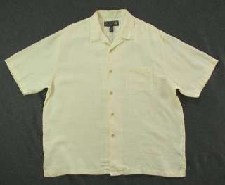 NAT NAST MENS XL PALE YELLOW LINEN BUTTON RETRO CAMP SHIRT S/S