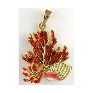 Reyes del Mar 14K Gold Coral with Trumpet Conch Nautical
