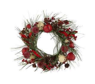 12 Hurricane Jingle Bell Wreath & Flameless Candle Valerie Parr Hill