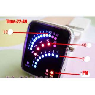 New Quadrate Case Bright Red & Blue 29 LEDs Light Mens Women Boy Wrist