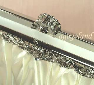 Ivory Satin Wedding Purse   Elegant Crystal Fancy Clasp Clutch Handbag