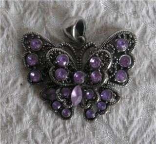 Butterfly Pendant Silver Metal w/ Purple Stones Glass