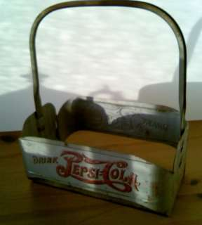 1940s Pepsi Cola Embossed Metal Bottle Carrying Case