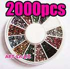 12 Colors Nail Art Tips Glitter Rhinestones Wheel