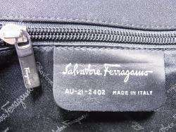 Authentic Salvatore Ferragamo Hand bag Clutch Black Made in Italy