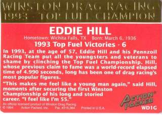 EDDIE HILL 1994 Action Packed NHRA 24kt GOLD CARD |