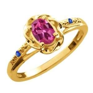 52 Ct Oval Pink Tourmaline Blue Sapphire 14K Yellow Gold Ring Jewelry