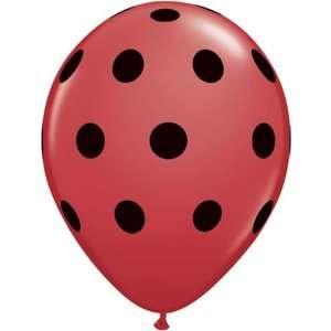 Qualatex Polka Dots Balloons (11, Red with Black Dots