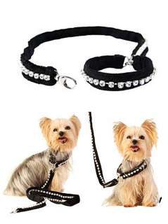 NEW Rich Dog World Luxury Velvet Leash Crystal Black